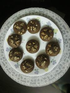 Choco almond muffins by mum!